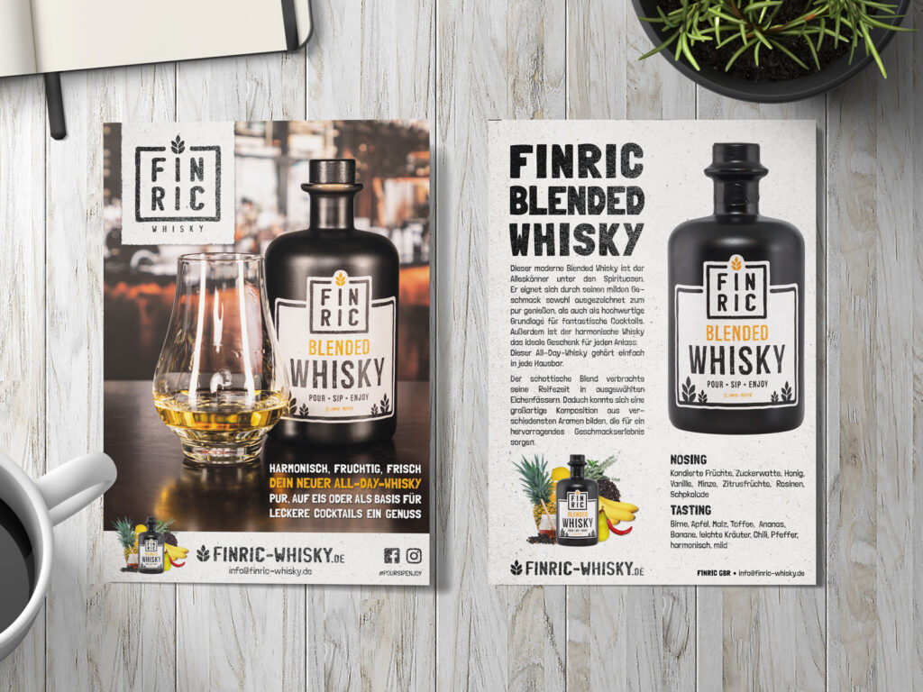 Flyer-Gestaltung - FINRIC Whisky - Printmedien, Druck